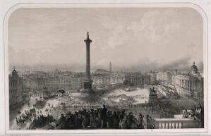 view The funeral procession of the Duke of Wellington passing Trafalgar Square in London in 1852. Lithograph by A. Maclure.