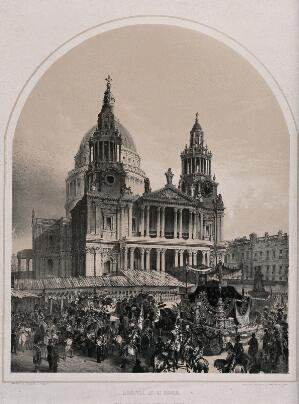view The funeral procession of the Duke of Wellington arriving at St. Paul's Cathedral in London in 1852. Lithograph by A. Maclure.