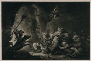 view The miser in hell. Mezzotint after D. Teniers the younger.