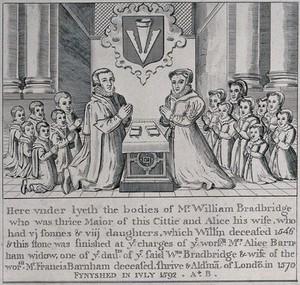 view Tomb effigies of William Bradbrige, his wife Alice, and their fourteen children. Engraving.