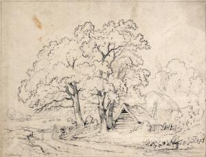 view Three trees by the road to a farm, with wooden hut and haystack. Pencil drawing.