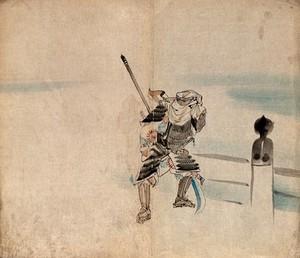 view A Japanese Samurai warrior in his armour. Watercolour.
