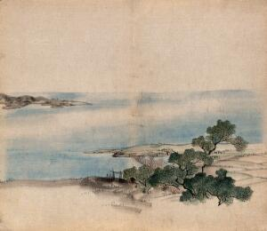 view The bank of a lake in Japan with trees, possibly keyaki trees (Zelkova serrata). Watercolour.