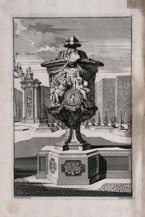 view An ornate vase and pedestal with a young soldier courting a woman carved in relief on the side. Etching by J. Schynvoet, c. 1701, after S. Schynvoet.