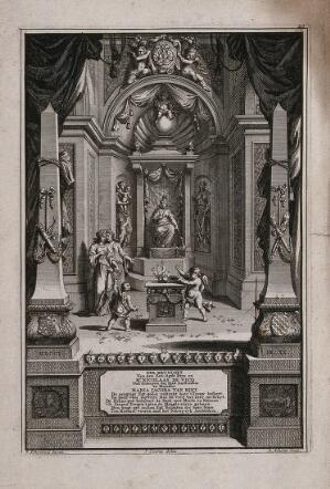 view A queen sits on a throne in ornate surroundings, below is an inscription to the wedding of Nicolaas de Vicq and Maria Jacoba van Reit. Etching with engraving by L. Scherm, c. 1701, after J. Goeree after S. Schynvoet.