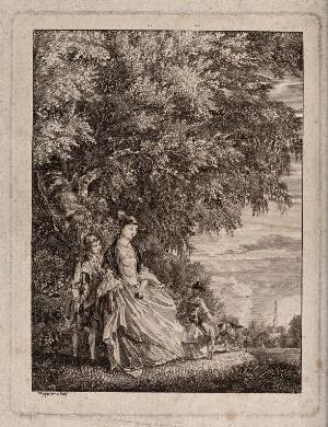 view A lady and two children with a dog under a tree in a country park. Etching by P. Sandby, c. 1752, after himself.