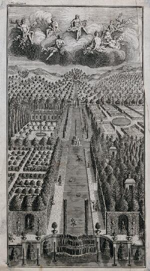 view A large renaissance water garden with angels in the clouds above. Etching.