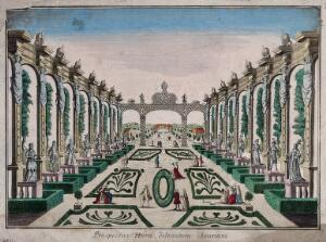view A classical garden with statues and topiary work. Coloured etching.