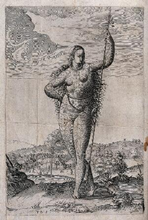 view A naked lady covered in floral tattoos standing in an open landscape. Etching.