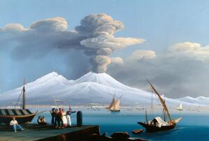view The bay of Naples with Mount Vesuvius erupting and covered in snow, 6 January 1836. Gouache painting by Mauton, 1836.