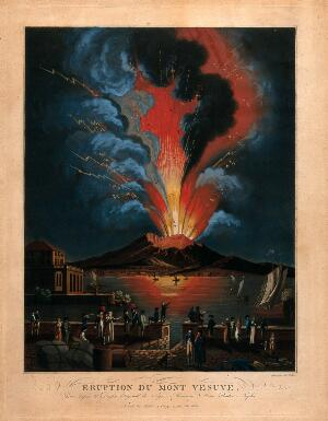 view Eruption of the Vesuvius at night; people in the foreground. Aquatint by Fr. Weber after A. d'Anna.