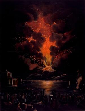 view Eruption of the Vesuvius at night; people watching the eruption in the foreground. Aquatint by F. Weber after A. d'Anna.
