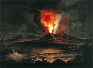 view Eruption of the Vesuvius at night; boat and two men in the foreground. Aquatint by J.W. Edy after J. More, 7 April 1800.
