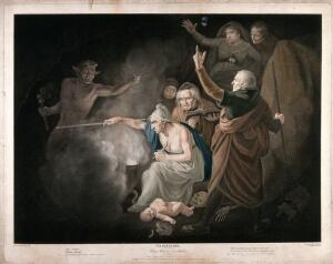 view An episode in King Henry VI, part II: Margerie Jourdayne with others conjure up a diabolical spirit in the hope of revealing to Humfrey Duke of Gloucester the results of competing claims to the English crown. Colour stipple print by C.G. Playter and R. Thew after J. Opie, 1796.