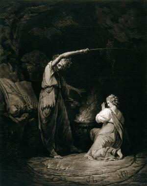 view A witch, raising her arm above a flaming cauldron, recites a spell; a young woman kneels in front of the cauldron. Mezzotint by J. Dixon after J.H. Mortimer, 1773.