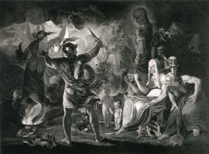 view Macbeth, the three witches, Hecate, and the eight kings, in a cave. Stipple print by R. Thew after J. Reynolds, 1 December 1802.