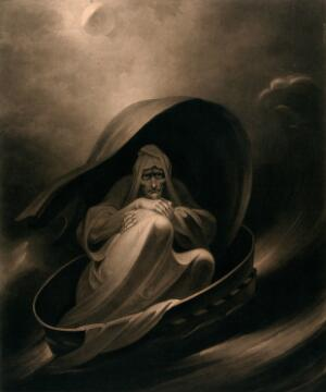 view A witch surfing on a sieve. Mezzotint by C. Turner, 1807, after J.J. Halls.