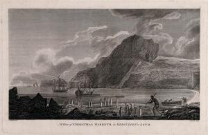 view Christmas Harbour in Kerguelen Island (South Indian Ocean), Captain Cook's ships in the background. Engraving by J. Newton, 178-, after J. Webber, 1774.