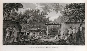 view Captain Cook witnessing a human sacrifice performed during a ceremony on the island of Otaheite (Tahiti) Engraving by W. Woollett after J. Webber, 1780/1785.