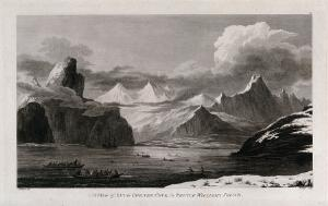 view Snug Corner cove, in Prince William's Sound (Alaska); encountered by Captain Cook on his third voyage (1777-1780) Engraving by W. Ellis after J. Webber, 1780/1785.
