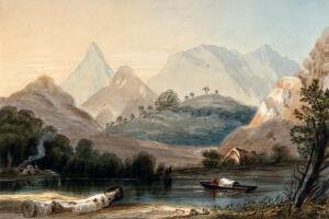 view Rio Claro, Colombia. Coloured etching by C. Empson, 1836.