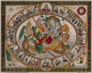 view Narayan on the waters with Lakshmi massaging his legs surrounded by Narada, Maruti, Garuda and Tumbra, all surrounded by roundels. Coloured transfer lithograph.