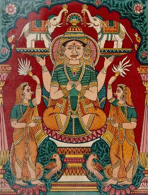 view Lakshmi being anointed by elephants. Chromolithograph.