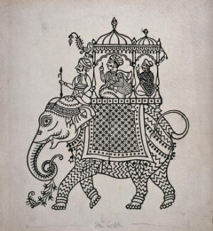 view Raja on an elephant in the style of Ahmedabad, Gujarat. Process print.