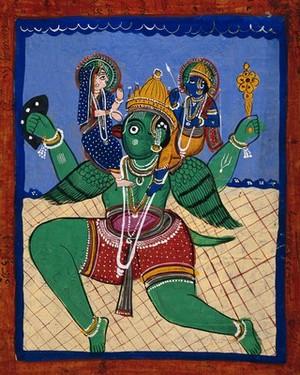 view Garuda carrying Vishnu and Lakshmi. Gouache drawing.