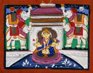 view Consecration of Sri Lakshmi by the Elephants of Directions. Gouache drawing.