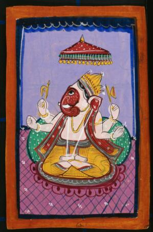 view Ganesha. Gouache drawing.