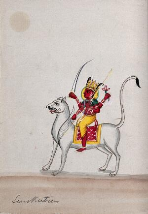 view Unidentified god riding on winged lion. Gouache drawing.