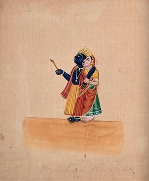 view Krishna and Radha. Gouache drawing.