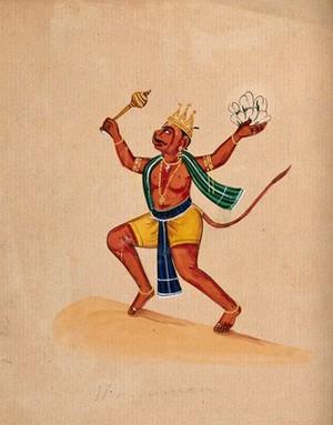 view Hanuman. Gouache drawing.