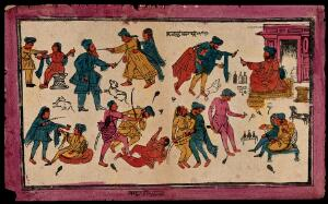 view Forms of misbehaviour, drunkeness, debauchery, and violence among Sikhs. Coloured transfer lithograph.
