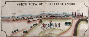 view City of Lahore with Ranjit Singh in foreground, Punjab, Pakistan. Coloured transfer lithograph.