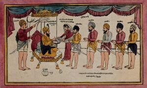 view Guru Gobind Singh mixing nectar for his disciples at the birth of Khalsa. Coloured transfer lithograph.