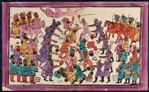 view Battle between the English and Sikhs. Coloured transfer lithograph.