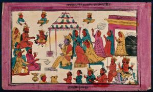 view Marriage of Rama to Sita with Brahmins making fire sacrifice. Coloured transfer lithograph.