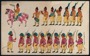view Two rows of soldiers, English and Sikh. Coloured transfer lithograph.