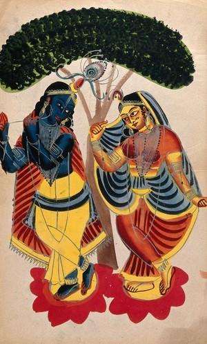 view Radha and Krishna. Watercolour drawing.