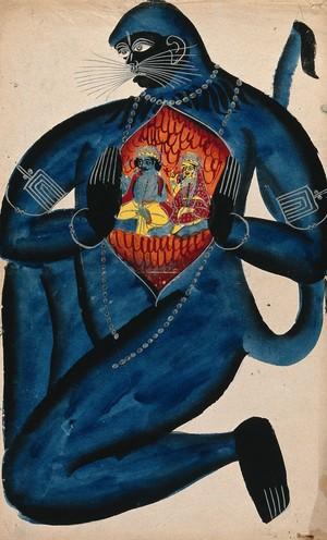view Hanuman revealing Rama and Sita in his heart. Watercolour drawing.