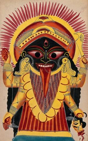 view Kali holding a demon's head. Watercolour.
