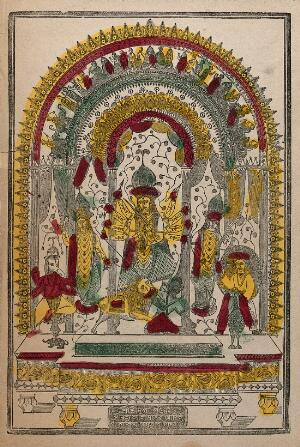 view Durga slaying the Buffalo demon surrounded by deities on a stand within a torana. Coloured transfer lithograph.