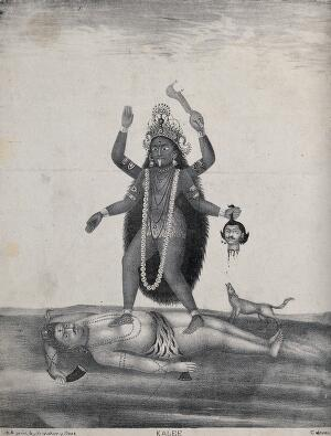 view Kali standing on Shiva with howling dog. Lithograph.