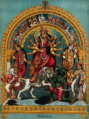 view Durga slaying the Buffalo Demon on a stand within a torana surrounded by deities. Chromolithograph.