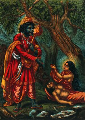 view Savitri pleading with Yama for her husband's life. Chromolithograph.
