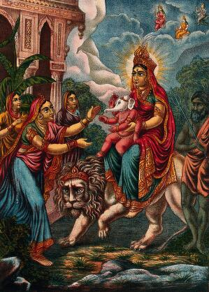 view A goddess probably Parvati as Durga riding on a lion presenting an infant Ganesha to a woman. Chromolithograph.