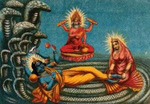 view Vishnu lying on a serpent, with Lakshmi massaging his feet and Brahma in heaven. Chromolithograph.