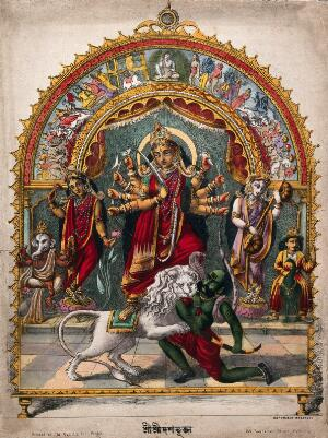 view Durga slaying the Buffalo Demon with other deities, set in a torana. Coloured lithograph.